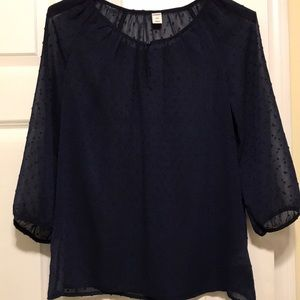 Sheer dotted navy top